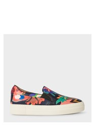 Paul Smith Women's Botanical Print Leather 'Xena' Trainers Pink