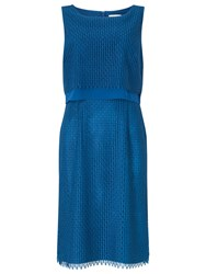 Jacques Vert Peacocks Lace Dress Mid Blue