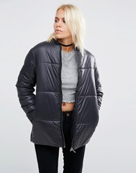 Asos Padded Jacket In Wet Look Black