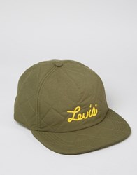 Levi's Quilted Baseball Cap In Khaki Green