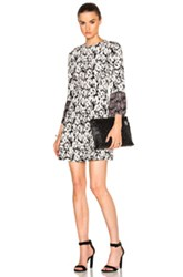 Derek Lam 10 Crosby Bell Sleeve Dress In Black White Abstract Black White Abstract