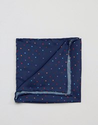Original Penguin Silk Pocket Square Multi Colour Spots Navy