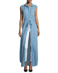 Nicholas Chambray Sleeveless Maxi Shirtdress Light Blue