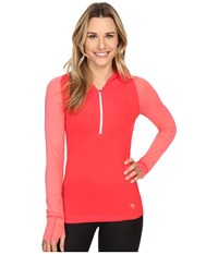 Mountain Hardwear Butterlicious Long Sleeve Hoodie Red Hibiscus Paradise Pink Women's Sweatshirt