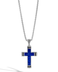 Men's Classic Chain Lapis Cross Pendant Necklace With Black Sapphire John Hardy