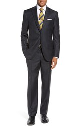 David Donahue Men's Big And Tall 'Ryan' Classic Fit Stripe Wool Suit Charcoal