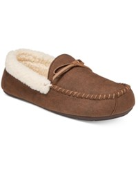 Club Room Men's Slippers Aaron Sherpa Lined Moccasins Brown