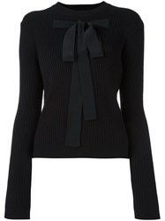 Rochas Bow Front Ribbed Jumper Black