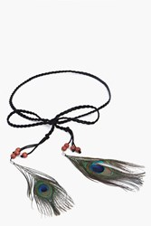 Boohoo Peacock Feather Festival Belt Black