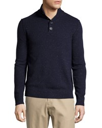 Neiman Marcus Speckled Mock Neck Sweater Blue Night