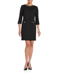 Karl Lagerfeld Leatherette Trimmed Sheath Dress Black