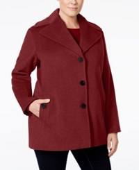 Calvin Klein Plus Size Wool Cashmere Single Breasted Peacoat Burgundy
