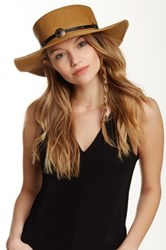 Free Press Buckle Trim Boater Hat Brown