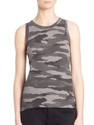 Current Elliott Sleeveless Camo Muscle Tee Distressed Black Camo