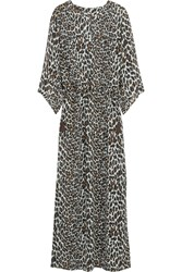 Tory Burch Reva Leopard Print Silk Chiffon Maxi Dress Animal Print