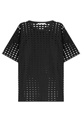 T By Alexander Wang Short Sleeve Top With Cut Out Detail Black