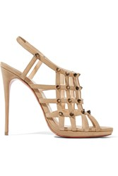 Christian Louboutin Guinievre 120 Studded Suede Slingback Sandals Beige