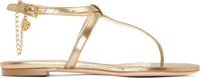 Alexander Mcqueen Gold Leather Skull Chain Sandals