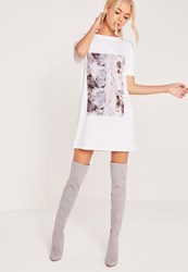 Missguided Marble T Shirt Dress White White