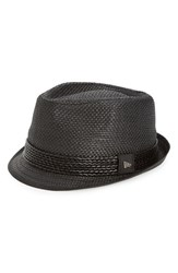 Men's New Era Cap Straw Fedora Black