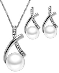 Macy's Sterling Silver Jewelry Set Cultured Freshwater Pearl 6Mm And 7Mm And Diamond Accent X Shape Pendant And Earrings Set
