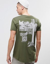 Asos Longline T Shirt With Distressing And Military Back Print In Khaki Rifle Green