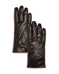 Bloomingdale's Whip Stitch Leather Gloves Black