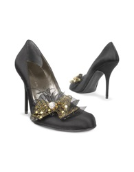 Quai D'orsay Crystal And Feather Bow Evening Pump Black