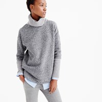 J.Crew Relaxed Fleece Turtleneck With Cashmere Trim