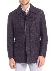 Brioni Quilted Silk Jacket Blue