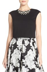 Women's Eliza J Embellished Crop Top Black