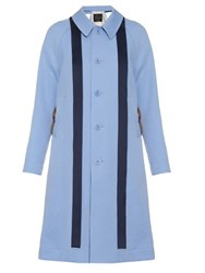 Undercover Fur Trim Crepe Trench Coat Light Blue