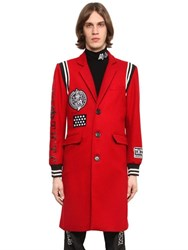 Ktz Varsity Style Wool Coat With Patches