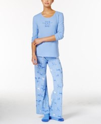 Hue Thermal Pajama Set With Socks Blue Cats