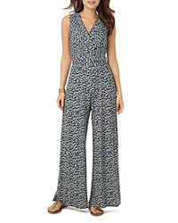 Phase Eight Bette Printed Jumpsuit Navy White