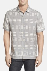 Tommy Bahama 'Capri By The Sea' Island Modern Fit Silk And Cotton Camp Shirt Gray
