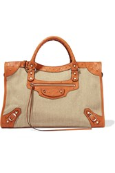 Balenciaga City Leather And Ostrich Trimmed Canvas Tote