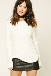 Forever 21 Contemporary Cable Knit Sweater Cream