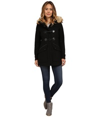 Marc New York Cara 30 Pressed Wool Toggle W Faux Fur Hood Black Women's Coat