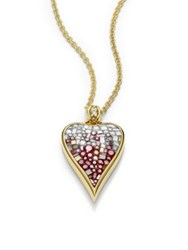 Pleve Raspberry Ombre Diamond And 18K Yellow Gold Heart Pendant Necklace