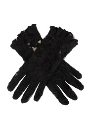 Dents Ladies Short Lace Glove With Ruffle Cuff Black