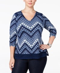 Ny Collection Plus Size Lace Trim Chevron Print Top Navy Passage