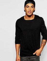 Asos Long Sleeve T Shirt With Square Neck In Black