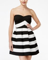 B. Darlin B Juniors' Striped Strapless Fit And Flare Dress Black White