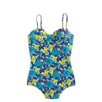 J.Crew Retro Floral Underwire One Piece Swimsuit Blue Neon Lime