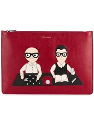 Dolce And Gabbana Designer's Patch Clutch Red