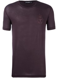 Dolce And Gabbana Bee Crown Embroidered T Shirt Pink Purple