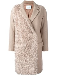 Dondup Contrast Texture Coat Nude And Neutrals