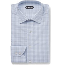 Tom Ford Blue Slim Fit Checked Cotton Shirt Blue