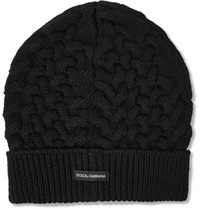 Dolce And Gabbana Cable Knit Wool Beanie Black